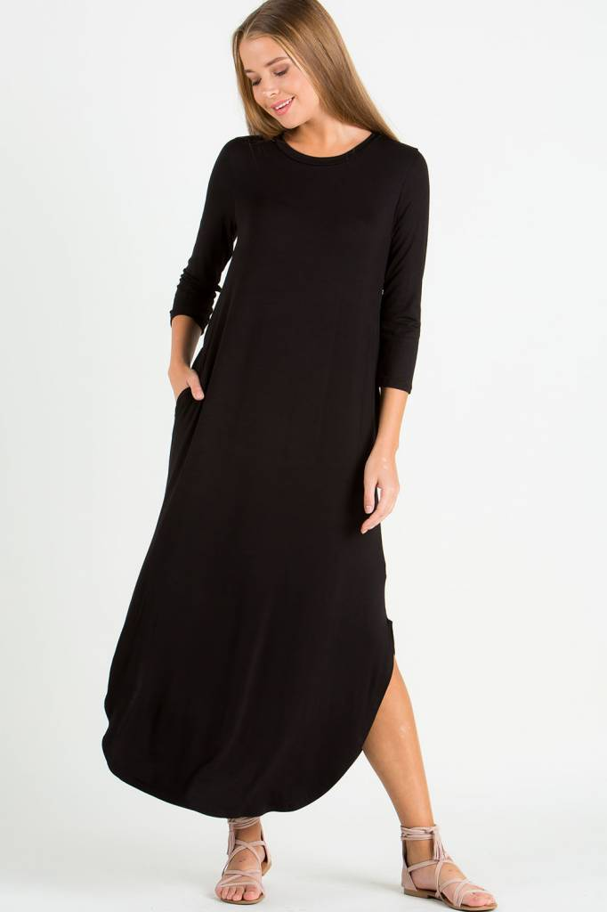 Ee Some 3 4 Sleeve Split Side Maxi Dress King Frog Clothing The