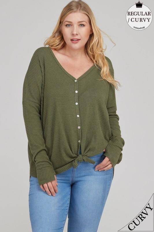 Brushed Waffle Knit Button Down Top
