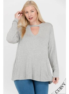 Mittoshop Cutout Front Long Sleeve Knit Top