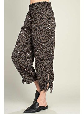 Leopard Smocking Waistband Tie Side PKT Woven Pants