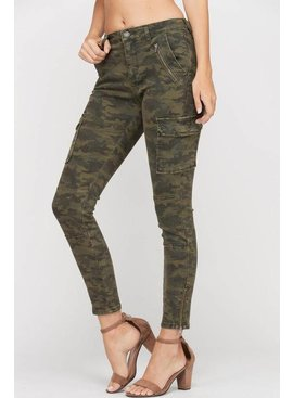 Washed Camo Print Cargo Skinny Jeans