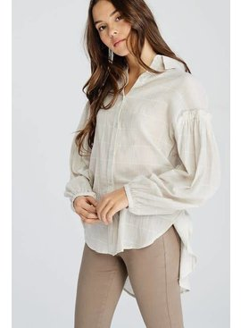 Long Sleeve Cotton Windowpane Blouse