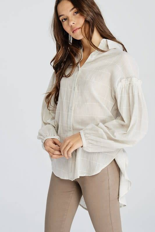 Wishlist Long Sleeve Cotton Windowpane Blouse