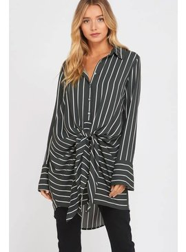 STRIPED WRAP TIE BLOUSE