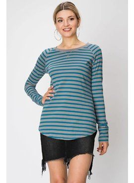 COTTON STRIPE HENLEY T-SHIRT