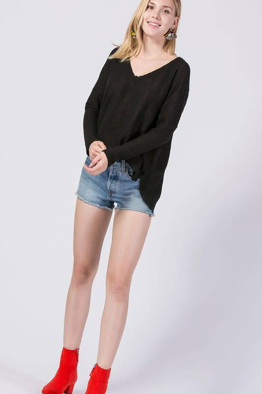 Double Zero Inc. FLEECE V-NECK DOLMAN SLEEVE TOP