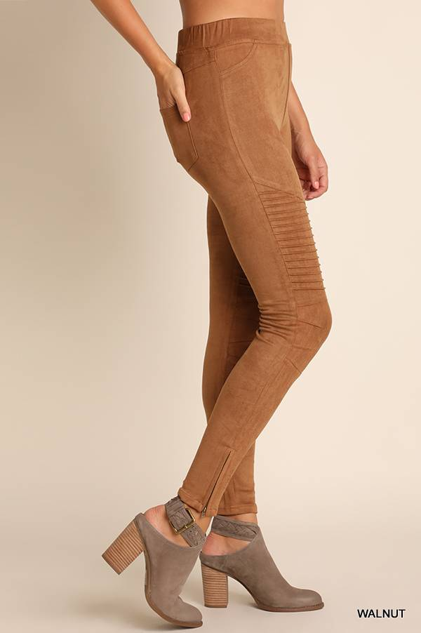 High Waisted Suede Moto Jeggings with Ankle Zippers