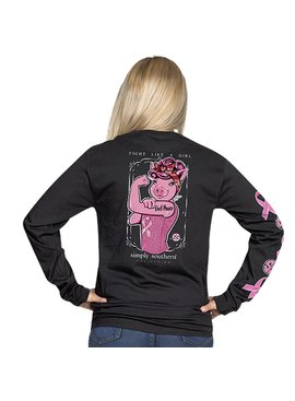 Simply Southern Collection Fight Like a Girl Long Sleeve T-Shirt - Black
