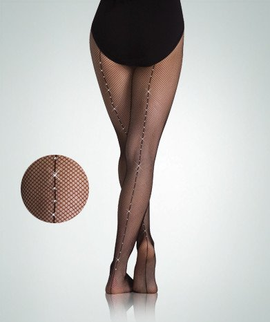 Body Wrappers A64 Backseam Fishnet Tights with stones for Adults