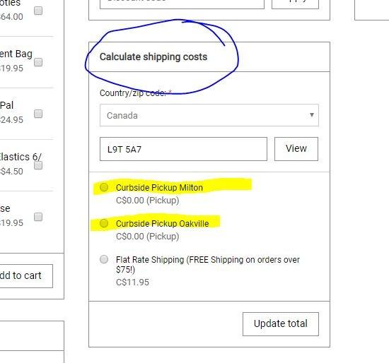 curbside options screen shot