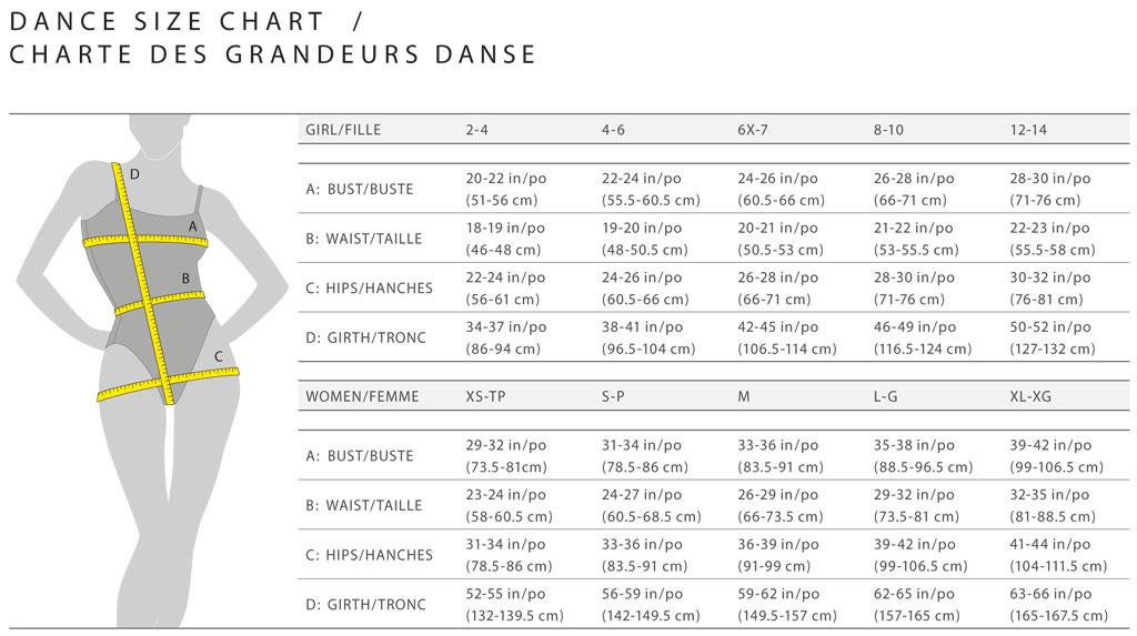 Mondor Dancewear Sizing Chart