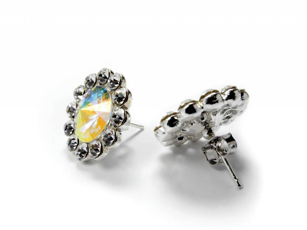 FH2 AZ0049-1 Flower Earrings AB Pierced
