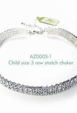 FH2 AZ0005-1 3 row Crystal Choker for Children