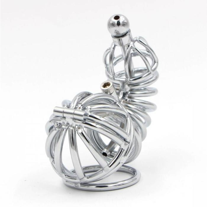 Chastity cage with ball and lockring