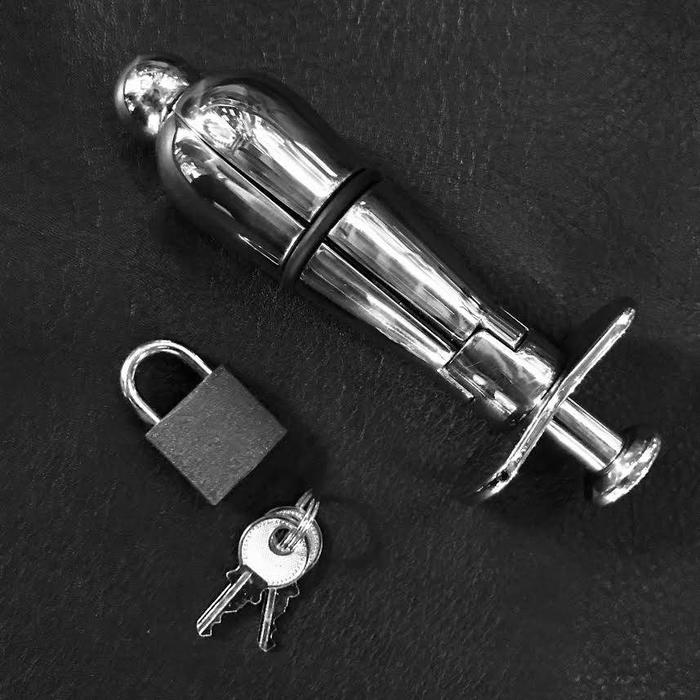 Stainless Locking Anal Plug