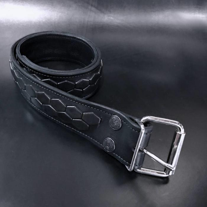 Hex Spot 2Row Black Studded belt