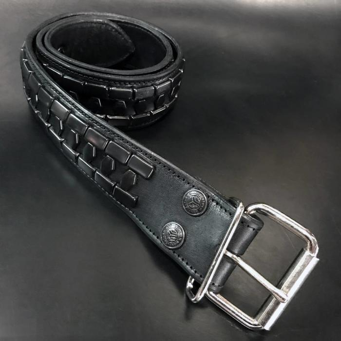 Brick/Hex Black Studded Belt