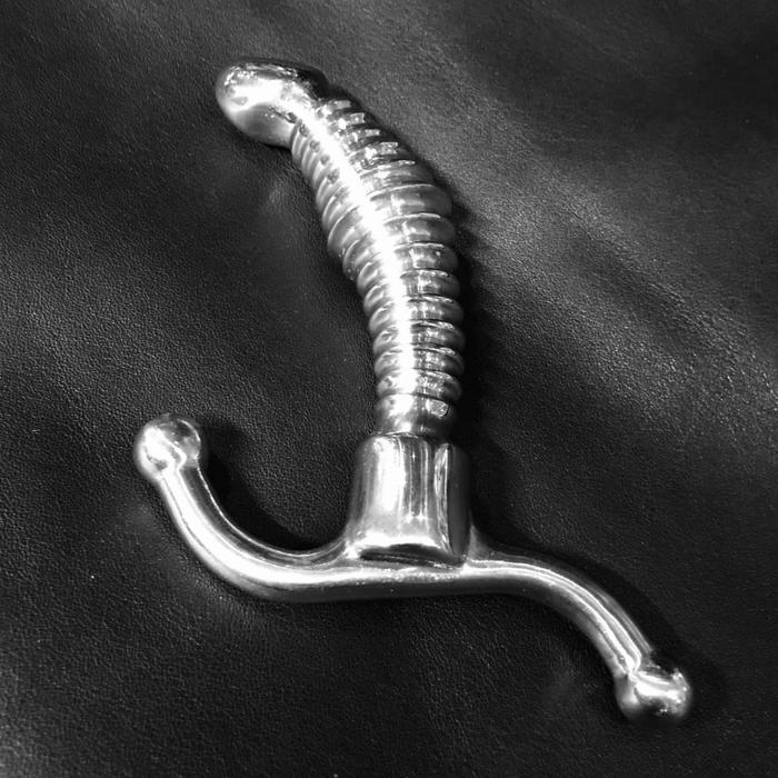 Prostate massager, ribbed, stainless