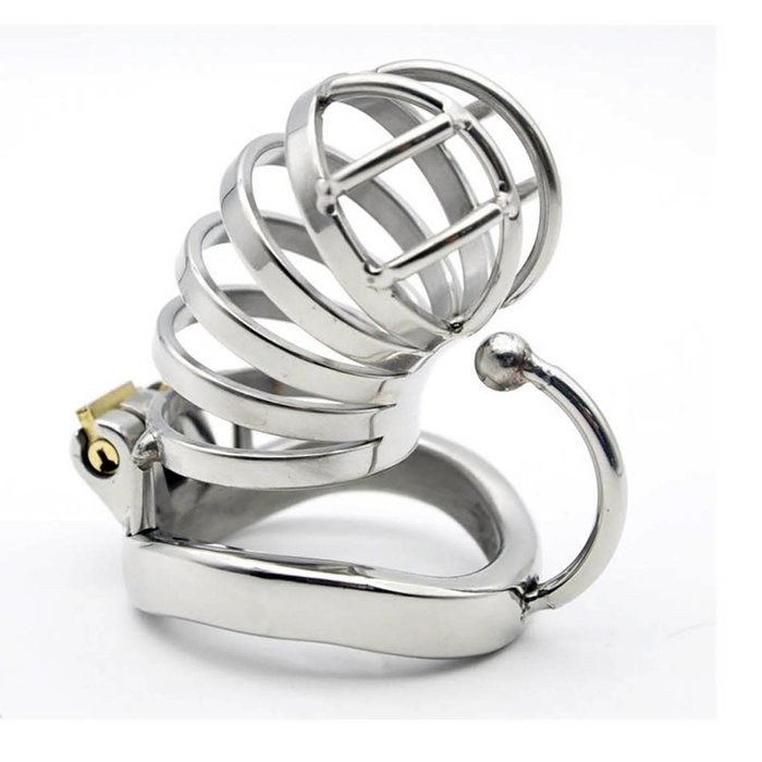 Steel Chastity Cage with Base Arc Ring
