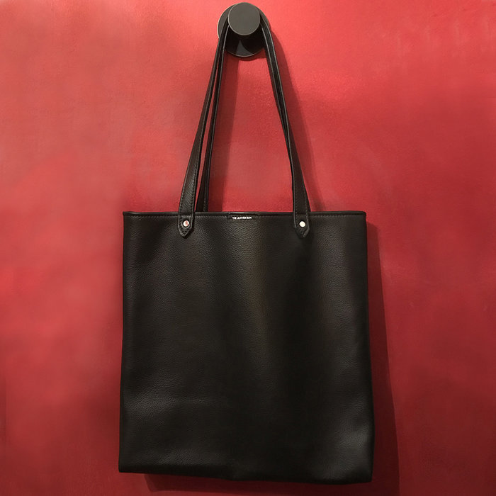 Tote, leather, blk