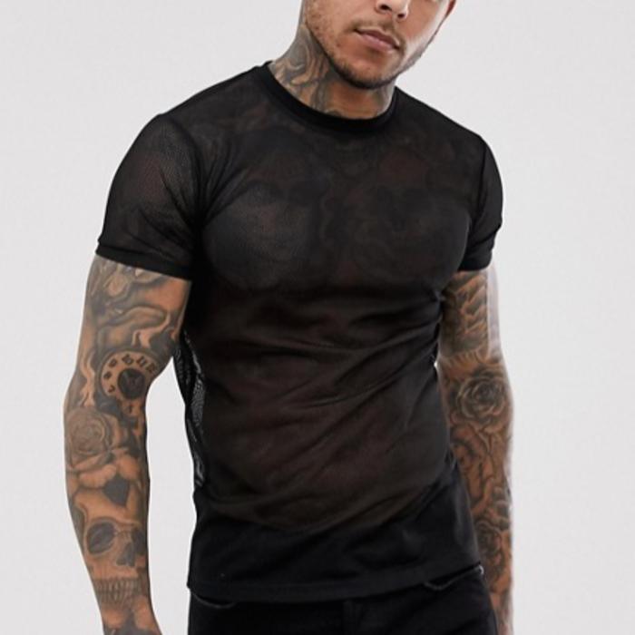 Shirt, Fishnet, Short Sleeve