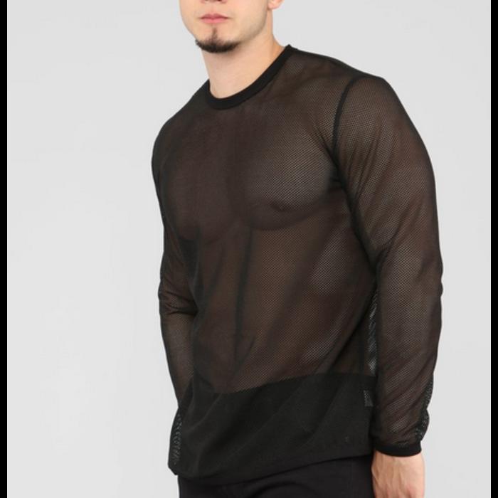 Shirt, Fishnet, Long Sleeve