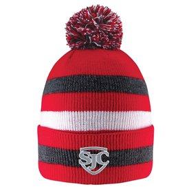 Winter Wear 4109 Knit Hat Striped w/pom