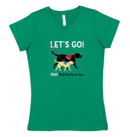 LAT Women's V Neck Let's Go T-Shirt