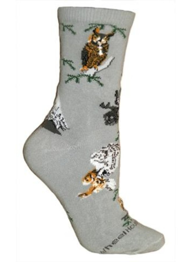 Socks - Owls on Gray