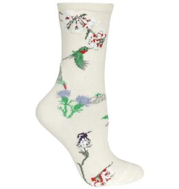 Socks - hummingbirds on natural