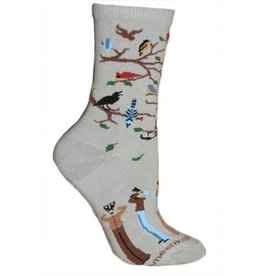 Socks - birdwatchers on gray