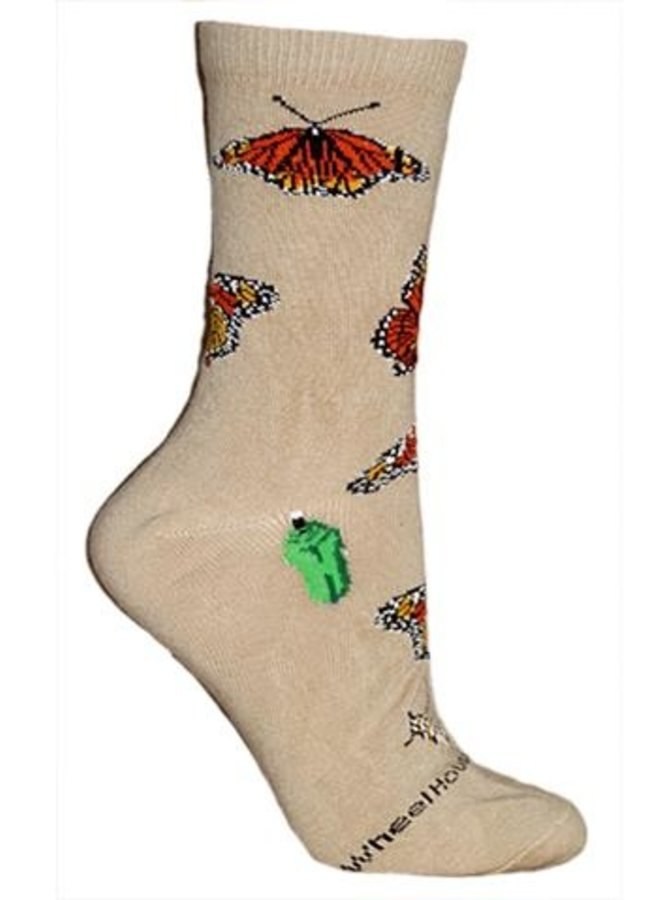 Socks - Monarch Butterflies on Khaki