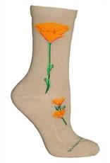 Socks - CA poppy on khaki