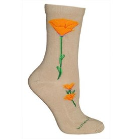 Socks - CA poppy on khaki
