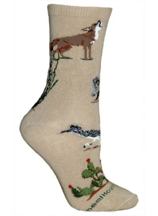 Socks - Desert Wildlife on Khaki