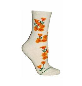 Socks - CA Poppies on Cream