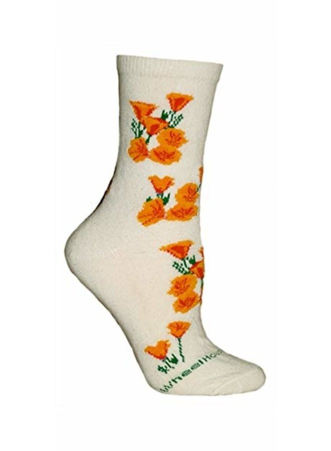 Socks - CA Poppies on Cream