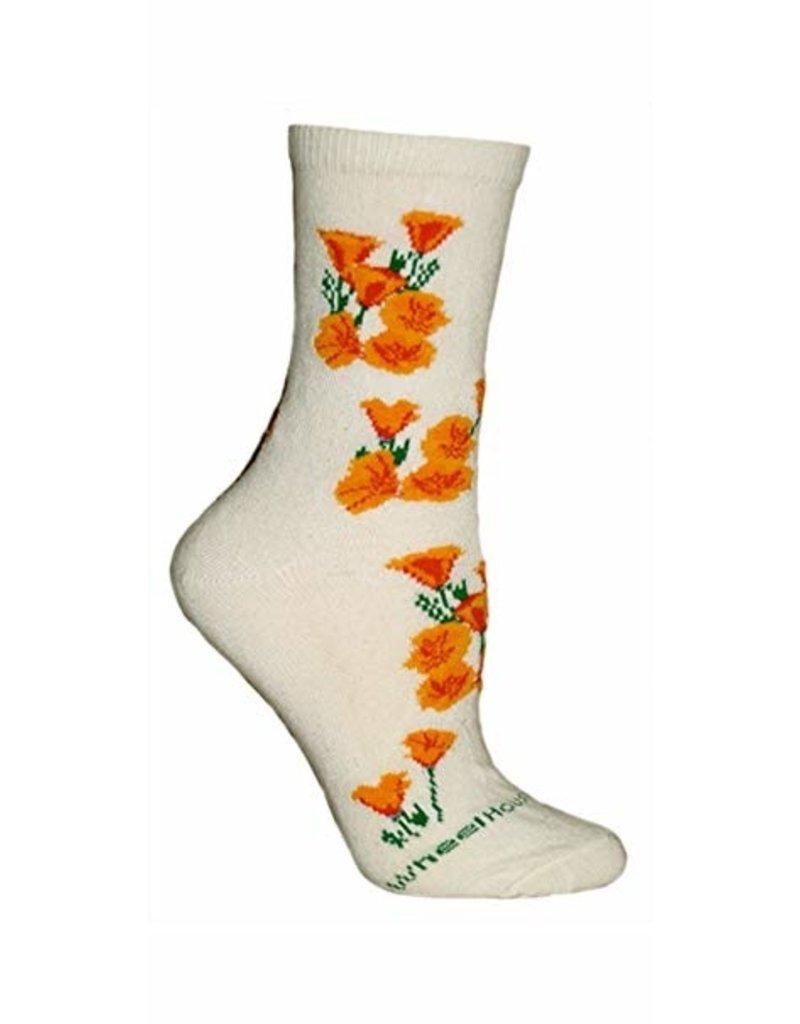 Socks - CA poppy on natural