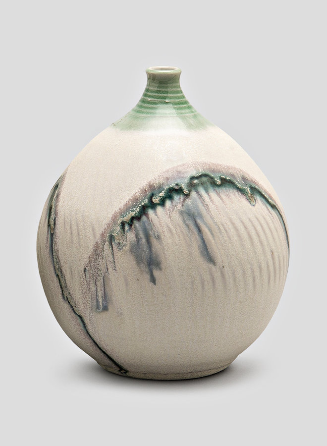 Vase - Cream with narrow neck and green arches (C241)