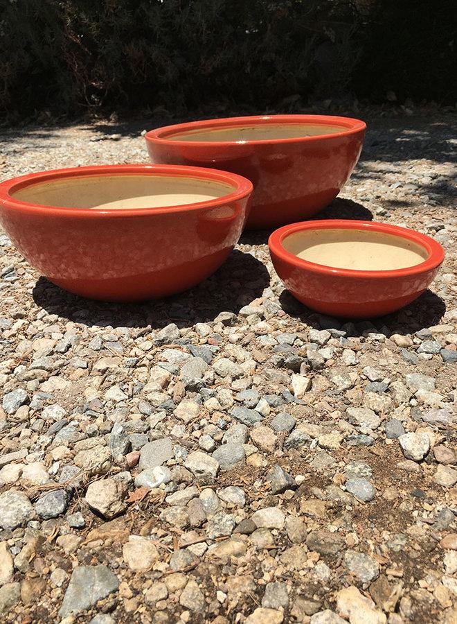 Pot - Glazed Low Bowl Red