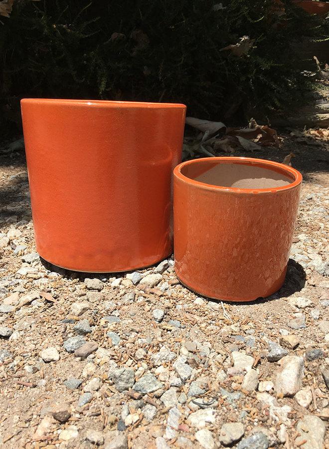 Pot - Glazed Cylinder Orange