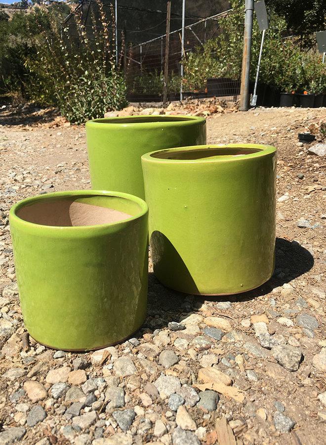 Pot - Glazed Cylinder Green
