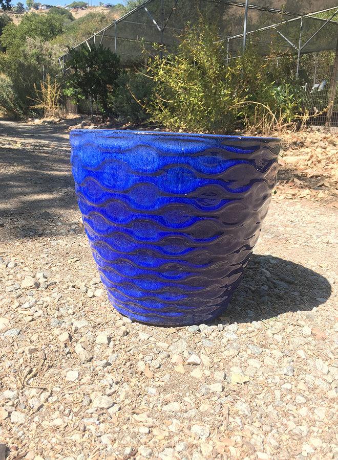 Pot - Glazed Basket Weave Egg Blue