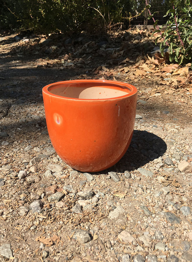 Pot - Small Glazed Egg Orange