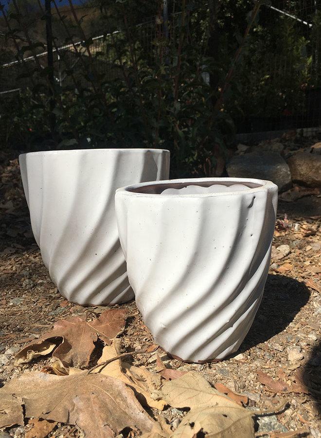 Pot - Glazed Small Twist White