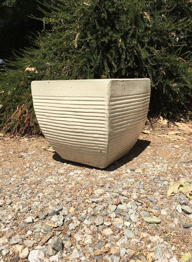 Pot - PS Square Horizontal Lines White