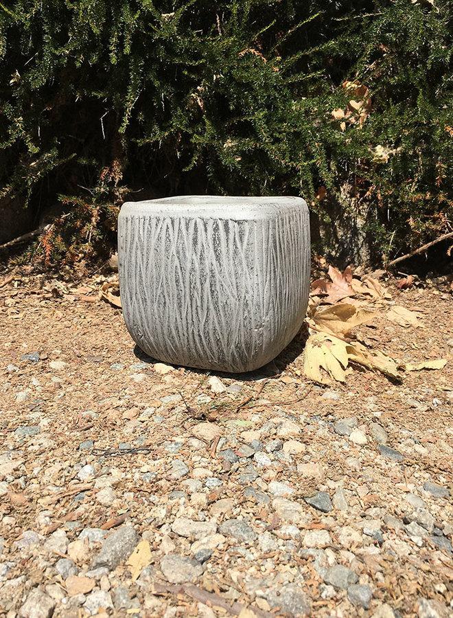Pot - Bark Design Rounded Cube Gray