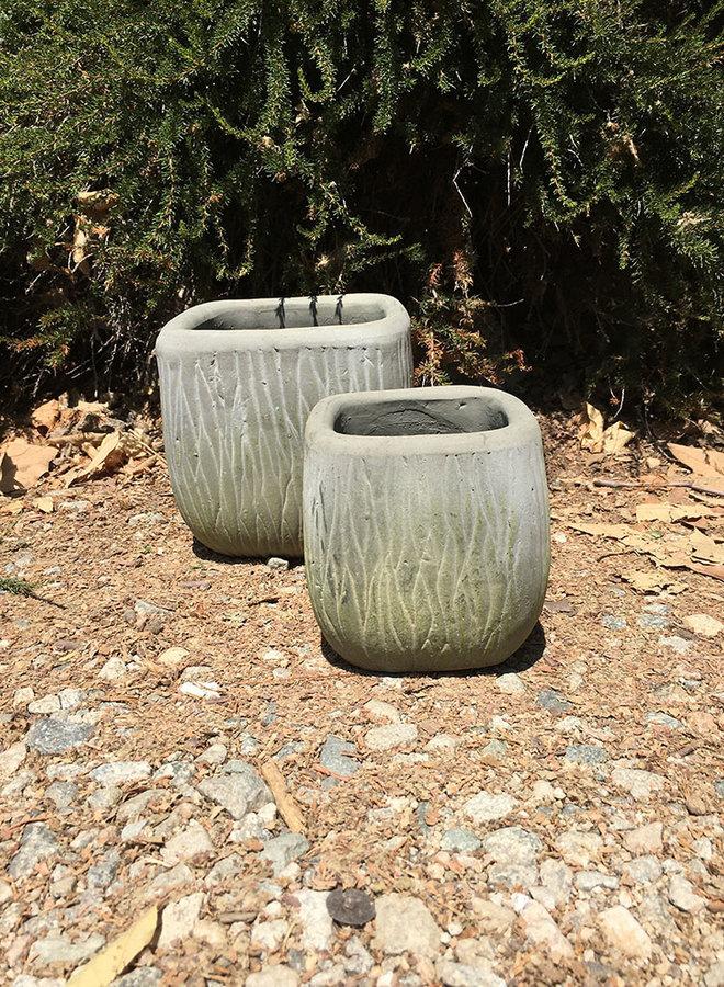 Pot - Bark Design Rounded Cube Gray Green