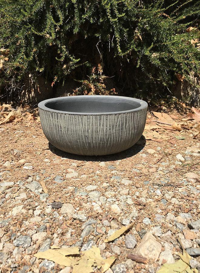 Pot - Bark Design Low Bowl Gray