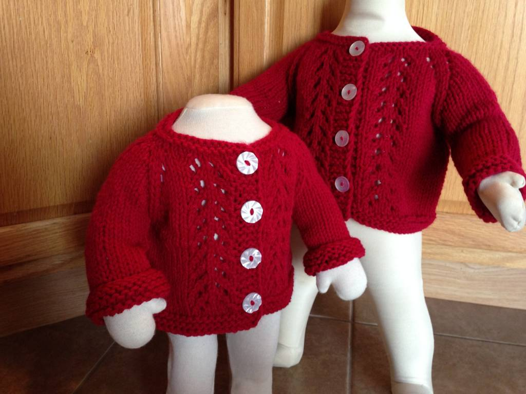 Red Handknit Lacy Cardigan with Hat 6 m